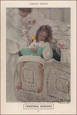 CHRISTMAS Morning, TOYS, DOLL by Sarah Stilwell, antique print, authentic 1909