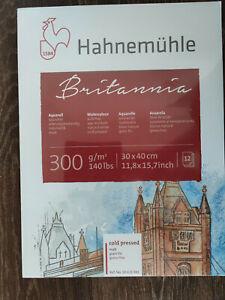 Aquarellblock Hahnemühle Britannica 300g/m² 30x40cm 12 Blatt cold pressed matt