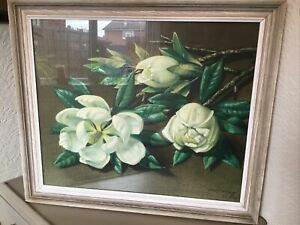 VINTAGE MID CENTURY TRETCHIKOFF OIRGINAL RARE MAGNOLIAS  PICTURE FRAMED  #5651