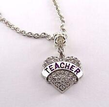 Teacher necklace teacher diamond cut necklace best jewelry gift teacher gift