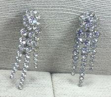 Vintage Rhinestone Pin Crystal Shooting Stars Pair Silvertone pOT METAL