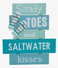 SANDY TOES & SALTWATER KISSES Sign Plaque LARGE 17.3  x  15.5  Beach Flip Flops