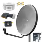 80cm Sat Anlage HD Digital Quad LNB Satfinder 15m Kabel 4 Teilnehmer UHD 4K Set