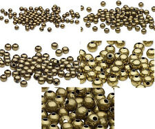 100 Antique Brass Finished Steel Metal Round Spacer Beads 2.5mm 3mm 4mm 6mm 8mm