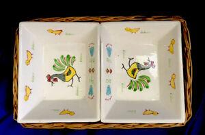 Set Of 2 SNACK BOWLS in a BASKET Rooster Design Japan Vintage ( 3 Piece Set)