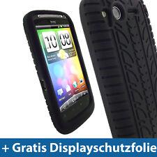 Schwarz Reifenprofil Tasche für HTC Desire S Android Silikon Hülle Case Skin