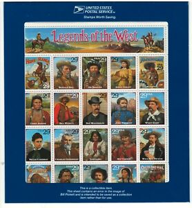 Scott 2870  1994 29c Legends of the West, Error Sheet, 20 Stamps M OG NH