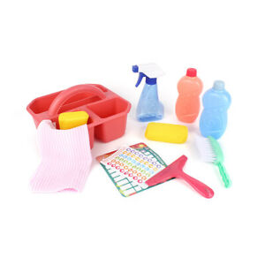 Cleaning Caddy Kids Role Play Set Bucket Pretend Girls Boys Toy 10 Piece Set