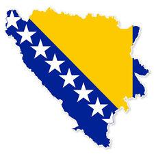 "Bosnia and Herzogovina Map Flag car bumper sticker 5"" x 4"""