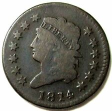 1814 Cross 4 Copper Large Cent Classic Head Type Coin Fine