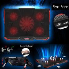 USB Laptop LED Cooling Cooler Pad Stand 5 Quiet Fan Computer Mat 12-17