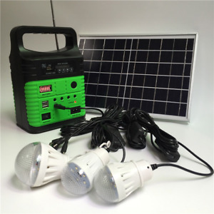 Portable 10W Solar Power Generator Outdoor Battery Charging LED Lighting System