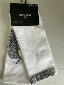 NWT AIR JORDAN VAPOR CREW Socks SZ 8-12 White/Blue Large