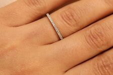 14k White Gold Finish Diamond Eternity Band Stackable Ring Endless Wedding Band