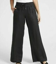 Athleta Cabo Linen Wide Leg Pant Black 8 Medium M