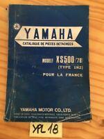 Yamaha XS500 1978 1H2 XS 500 500XS catalogue pièces détachées parts list moto