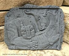 """Assyrian Lion and Bull Ox Sculpture Statue Relief wall fragment Persepolis 16"""""""