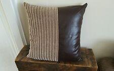 "22"" x 22"" Nutmeg Jumbo Cord with Brown Faux Leather Cushion Covers dfs scs etc"