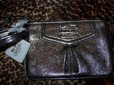 Womens COACH Leather Wristlet Silver Metallic Zipper Top NWT QB/44381 Purple Int