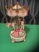 """Musical Carousel With Horses Vintage 9"""" X 4"""" Floral On White Turns 3 Horse Resin"""