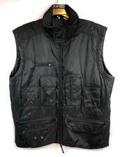 Walking Co solid black full zip lined hiking trail utility nylon vest men XL