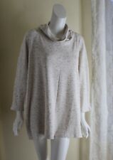 NWT Talbots -Sz 3X Delicious Woven Jersey Heather-Gray Monk Cowl Neck Blouse Top