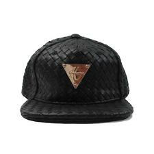 HATer Full Intrecciato Woven Black Premium Leather Snapback Hat