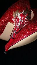 BIGTREE Thin High Heels Shoes Pointed Red Glitter  Shoes Metal Flower Stiletto 5