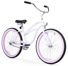 "Firmstrong Urban Limited Lady 26"" Beach Cruiser Bike White w/pink Rims"