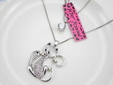 Betsey Johnson Super shiny crystal cat double chain Pendant Necklace # A403