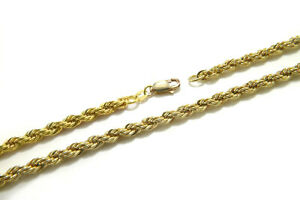 "Real Solid 14k Yellow Gold Filled 5mm x 7.25""-7.5"" Slim Rope Chain Bracelet"