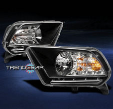 2010-2014 FORD MUSTANG BASE/GT DRL LED CRYSTAL HEADLIGHT LAMP BLACK SIGNAL