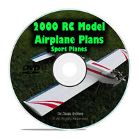 2,000 Remote Control RC Radio Model SPORT Airplane Plans, Scale, PDF DVD I26
