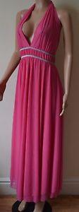 VICKY MARTIN backless hot pink halter cocktail maxi full length dress BNWT 12 14