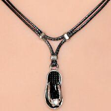 Collier pendentif tong noir sandale strass cordon noir black flip flop necklace