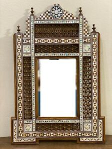 Wall Mounted Mirror, Wood Frame Inlaid Mother of Pearl