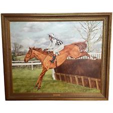 "Oil Painting ""Londolozi"" Horse Jockey Racing Portrait Sue Wingate RCA 1947-2016"