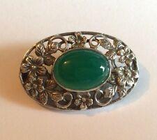 Vintage silv Arts & Crafts brooch w green semi-precious stone, poss chrysophrase