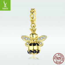 925 Sterling Silver Charm Bead Queen Bee 14k Gold CZ Pendant For Girl Bracelet