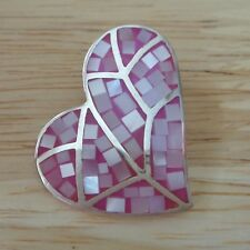 Sterling Silver 28x24mm Pink Mother Pearl Heart Pendant Charm hidden bale slide