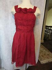 NWT Anthropologie BURLAPP Red Silk Dress Flowers STUNNING SZ 8