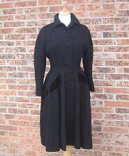 VTG 1940s LILLI ANN BLACK WOOL MOHAIR DRESS COAT TAPERED WAIST VELVET ACCENTS XS