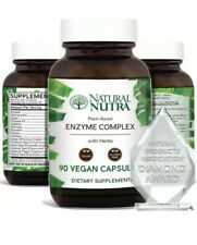 Plant Based Digestive Enzyme Complex with Herbs, Amylase, Bromelain, Lipase, Pro