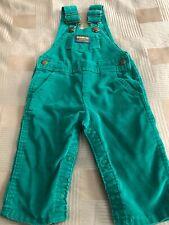 Vintage Oshkosh B'Gosh Green Corduroy Overalls Vestbak, Boy/Girl Size 12mos