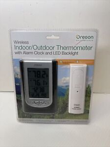 Oregon Scientific Wireless Indoor Outdoor Thermometer With Dual Alarm Clock Led