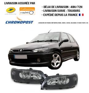 Phares fond noir 306 Peugeot h7/h7 feux cristal look original 97/2001 non LED