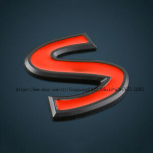 3D RED S Letter Logo Car Emblem Trunk Lid Decal Badge For Infiniti Q50 Q60 Q70 A