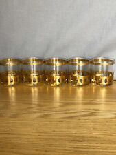 Culver Antigua 22K Gold On the Rocks / Lowball Mcm Barware Set of 5 - Nice!
