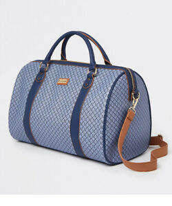 River Island navy monogram RI holdall weekend gym travel bag new with tags