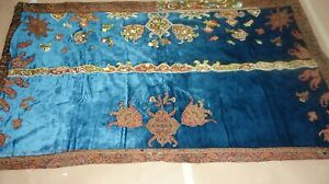 FRENCH ANTIQUE SILK VELVET PAISLEY EMBROIDERED PANEL DRAPE  APPLIQUES  SCARABS +